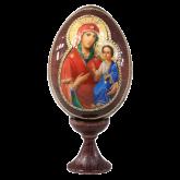 Пасхальное яйцо деревянное с наклейкой Божья Матерь Иверская