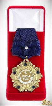 Орден подарочный Золотая мама (синий бант)