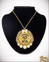 Медаль с Розочками на цепочке С Юбилеем 65лет элит