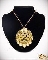 Медаль с Розочками на цепочке С Юбилеем 70лет элит