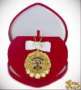 Медаль с Розочками и бантом на цепочке С Юбилеем 55лет элит