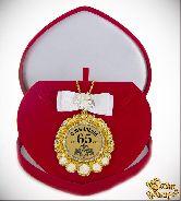Медаль с Розочками и бантом на цепочке С Юбилеем 65лет элит