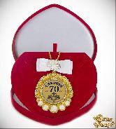 Медаль с Розочками и бантом на цепочке С Юбилеем 70лет элит