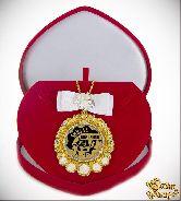 Медаль с Розочками и бантом на цепочке Звезда компании (футляр сердце)