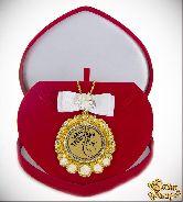 Медаль с Розочками и бантом на цепочке Самая трепетная (футляр сердце)