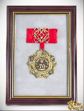 Орден в багете За взятие Юбилея 70 лет! (красный бант, ажур)