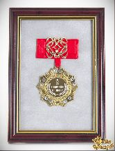 Орден в багете За трудолюбие и талант! (красный бант, ажур)