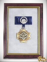 Орден в багете За золотое сердце! (синий бант, стразы)