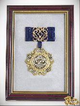 Орден в багете За золотое сердце! (синий бант, ажур)