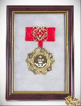 Орден в багете Золотой папа! (красный бант, ажур)