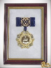 Орден в багете золотая бабушка! (синий бант, ажур)