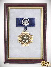 Орден в багете золотой дедушка! (синий бант, стразы)