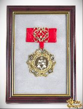 Орден в багете золотой дедушка! (красный бант, ажур)