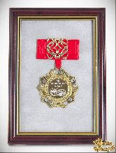 Орден в багете Любимому мужу за веру и верность! (красный бант, ажур)