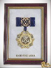 Орден в багете Мастер своего дела! Золотой босс (синий бант, ажур, накл)