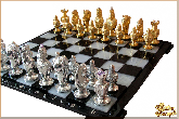 Шахматы Королевские (серебряными фигурами) из обсидиана