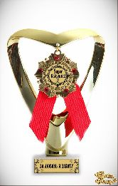 Кубок подарочный Сердце Super бабушка (орден, красный)