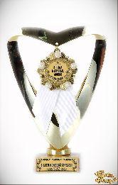 Кубок подарочный Сердце С Юбилеем Свадьбы 3 года (Орден, белая лента)
