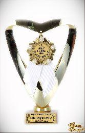 Кубок подарочный Сердце С Юбилеем Свадьбы 50 лет (Орден, белая лента)