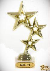 Кубок подарочный Три звезды Босс№1! 17 см
