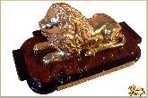 Фигура Бронзовый лев с подставкой из обсидиана