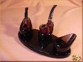 Курительный аксессуар Подставка для трубки Трио из обсидиана