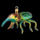 Ёлочная игрушка из Польши Зеленый жук с лапами