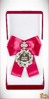 Медаль Волна Большой бант красн. Золотая бабушка