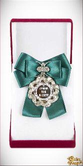 Медаль Волна Большой бант зеленый Лучший муж на свете