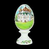 Пасхальное яйцо деревянное с ручной росписью Храм 3