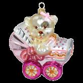 Ёлочная игрушка из Польши Плюшевый мишка в детской коляске