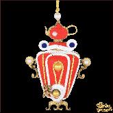 Дизайнерская игрушка ручной работы Самовар красный