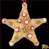 Дизайнерская игрушка ручной работы Мосркая звезда золотая