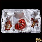 Набор ёлочных украшений ручной работы пр-во Чехия Сердца