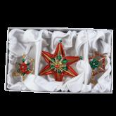 Набор ёлочных украшений ручной работы пр-во Чехия Звёзды 4