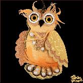 Дизайнерская игрушка ручной работы Сова золотая