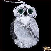 Дизайнерская игрушка ручной работы Сова серебряная