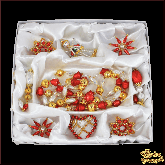Набор ёлочных украшений ручной работы пр-во Чехия Классический красный большой набор