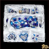 Набор ёлочных украшений ручной работы пр-во Чехия . Классический голубой большой набор