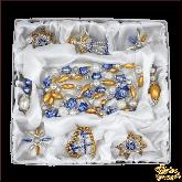 Набор ёлочных украшений ручной работы пр-во Чехия Классический золото-голубой большой набор