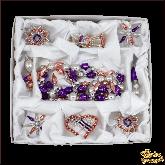 Набор ёлочных украшений ручной работы пр-во Чехия Лиловый большой набор