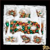 Набор ёлочных украшений ручной работы пр-во Чехия Классический большой фиолетово-зеленый набор