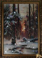Картина Зимний закат в еловом лесу