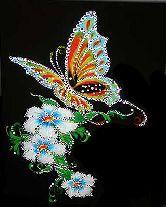 Картина Бабочка и белые цветы