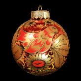 Ёлочный шар ручной работы Хохлома.Птица с подсолнухами