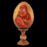 Пасхальное яйцо деревянное с ручной росписью Владимирская Божья Матерь