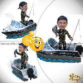 """Кукла шарж рыбаку """"На яхте"""""""