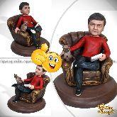 """Кукла шарж мужчине """"В кресле с кошкой"""""""