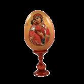 Пасхальное яйцо деревянное с наклейкой Владимирская Божья Матерь
