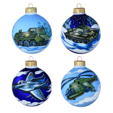 Набор ёлочных шаров ручной работы Военная техника